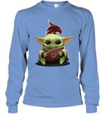 Baby Yoda Hug Texas State Bobcats The Mandalorian Long Sleeve T-Shirt