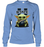 Baby Yoda Hug Utah State Aggies The Mandalorian Long Sleeve T-Shirt