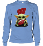 Baby Yoda Hug Wisconsin Badgers The Mandalorian Long Sleeve T-Shirt