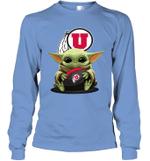 Baby Yoda Hug Utah Utes The Mandalorian Long Sleeve T-Shirt