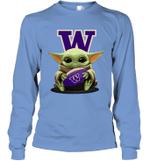 Baby Yoda Hug Washington Huskies The Mandalorian Long Sleeve T-Shirt