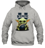 Baby Yoda Hug Utah State Aggies The Mandalorian Hoodie