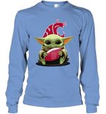 Baby Yoda Hug Washington State Cougars The Mandalorian Long Sleeve T-Shirt