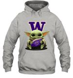Baby Yoda Hug Washington Huskies The Mandalorian Hoodie