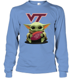 Baby Yoda Hug Virginia Tech Hokies The Mandalorian Long Sleeve T-Shirt