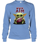 Baby Yoda Hug Texas A_M Aggies The Mandalorian Long Sleeve T-Shirt