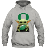 Baby Yoda Hug Oregon Ducks The Mandalorian Hoodie