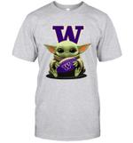 Baby Yoda Hug Washington Huskies The Mandalorian T-Shirt