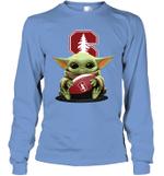 Baby Yoda Hug Stanford Cardinal The Mandalorian Long Sleeve T-Shirt