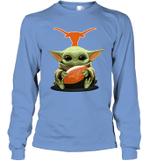 Baby Yoda Hug Texas Longhorns The Mandalorian Long Sleeve T-Shirt