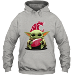 Baby Yoda Hug Washington State Cougars The Mandalorian Hoodie