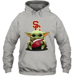 Baby Yoda Hug USC Trojans The Mandalorian Hoodie