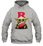 Baby Yoda Hug Rutgers Scarlet Knights The Mandalorian Hoodie