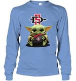 Baby Yoda Hug San Diego State Aztecs The Mandalorian Long Sleeve T-Shirt