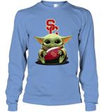 Baby Yoda Hug USC Trojans The Mandalorian Long Sleeve T-Shirt