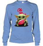 Baby Yoda Hug Ole Miss Rebels The Mandalorian Long Sleeve T-Shirt