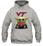 Baby Yoda Hug Virginia Tech Hokies The Mandalorian Hoodie