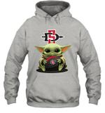 Baby Yoda Hug San Diego State Aztecs The Mandalorian Hoodie