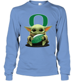 Baby Yoda Hug Oregon Ducks The Mandalorian Long Sleeve T-Shirt