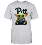 Baby Yoda Hug Pittsburgh Panthers The Mandalorian T-Shirt