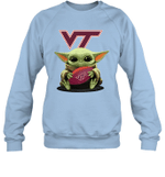 Baby Yoda Hug Virginia Tech Hokies The Mandalorian Sweatshirt