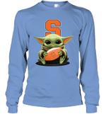Baby Yoda Hug Syracuse Orange The Mandalorian Long Sleeve T-Shirt