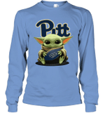 Baby Yoda Hug Pittsburgh Panthers The Mandalorian Long Sleeve T-Shirt