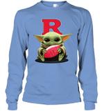 Baby Yoda Hug Rutgers Scarlet Knights The Mandalorian Long Sleeve T-Shirt