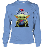Baby Yoda Hug Tulsa The Mandalorian Long Sleeve T-Shirt