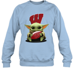 Baby Yoda Hug Wisconsin Badgers The Mandalorian Sweatshirt