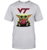 Baby Yoda Hug Virginia Tech Hokies The Mandalorian T-Shirt