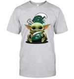 Baby Yoda Hug Tulane Green Wave The Mandalorian T-Shirt