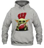 Baby Yoda Hug Wisconsin Badgers The Mandalorian Hoodie