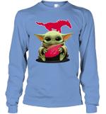 Baby Yoda Hug SMU Mustangs The Mandalorian Long Sleeve T-Shirt