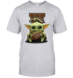 Baby Yoda Hug Western Michigan Broncos The Mandalorian T-Shirt