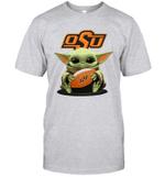 Baby Yoda Hug Oklahoma State Cowboys The Mandalorian T-Shirt