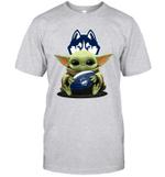 Baby Yoda Hug Uconn Huskies The Mandalorian T-Shirt