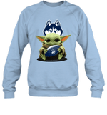 Baby Yoda Hug Uconn Huskies The Mandalorian Sweatshirt
