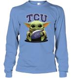 Baby Yoda Hug TCU Horned Frogs The Mandalorian Long Sleeve T-Shirt