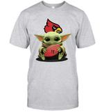 Baby Yoda Hug Louisville Cardinals Cardinals The Mandalorian T-Shirt