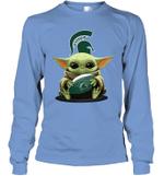 Baby Yoda Hug Michigan State Spartans The Mandalorian Long Sleeve T-Shirt