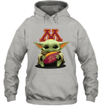 Baby Yoda Hug Minnesota Golden Gophers The Mandalorian Hoodie