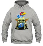 Baby Yoda Hug Kansas Jayhawks The Mandalorian Hoodie