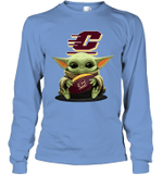 Baby Yoda Hug Central Michigan Chippewas The Mandalorian Long Sleeve T-Shirt
