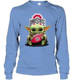Baby Yoda Hug Ohio State Buckeyes The Mandalorian Long Sleeve T-Shirt