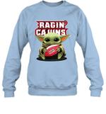 Baby Yoda Hug Louisiana Ragin_ Cajuns The Mandalorian Sweatshirt