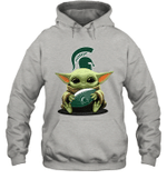 Baby Yoda Hug Michigan State Spartans The Mandalorian Hoodie