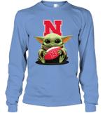 Baby Yoda Hug Nebraska Cornhuskers The Mandalorian Long Sleeve T-Shirt