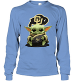 Baby Yoda Hug Colorado Buffaloes The Mandalorian Long Sleeve T-Shirt