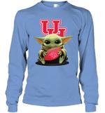 Baby Yoda Hug Houston Cougars The Mandalorian Long Sleeve T-Shirt